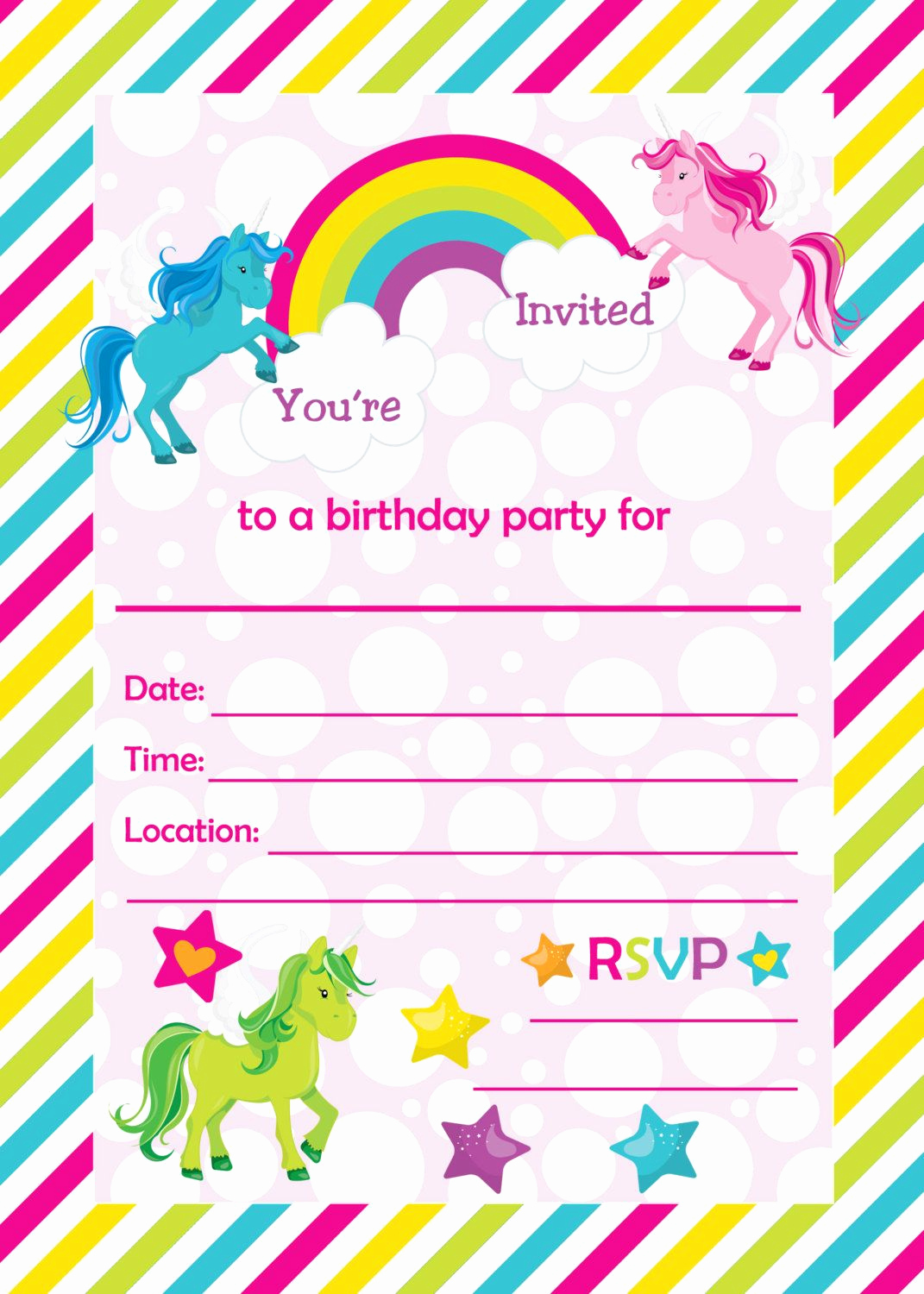 Printable Birthday Invitation Cards Awesome Fill In Birthday Party Invitations Printable Rainbows and
