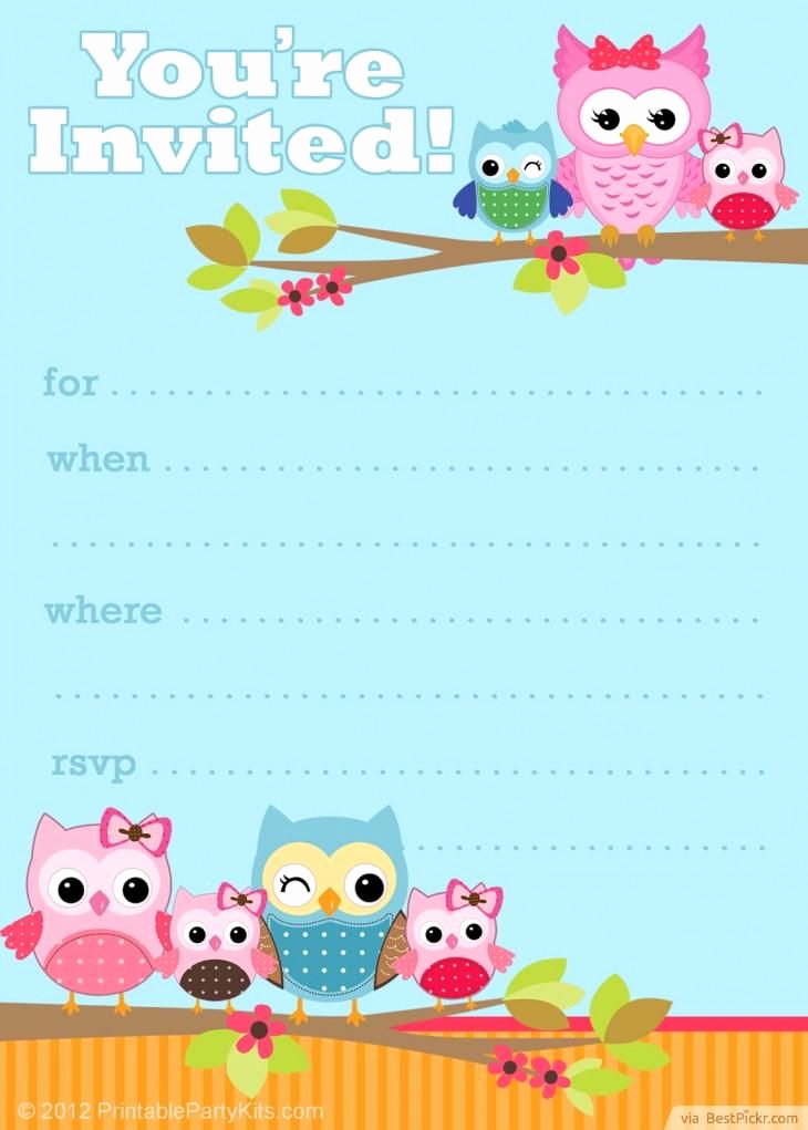 Printable Birthday Invitation Cards Elegant Free Printable Owl Party Invitation Template