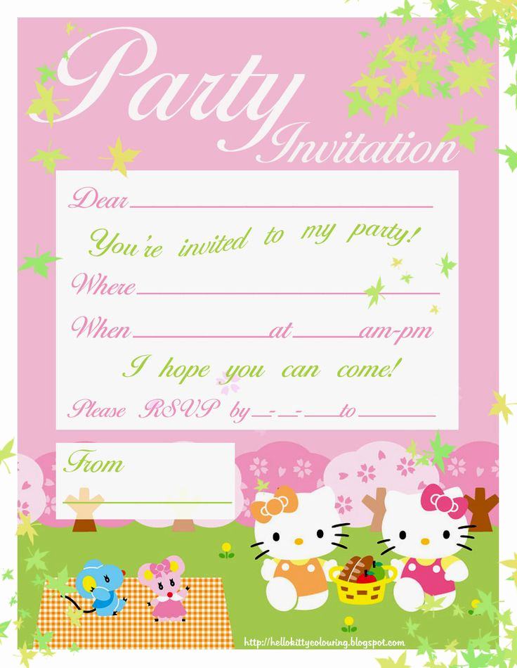 Printable Birthday Invitation Cards Lovely Free Hello Kitty Printable Invitation