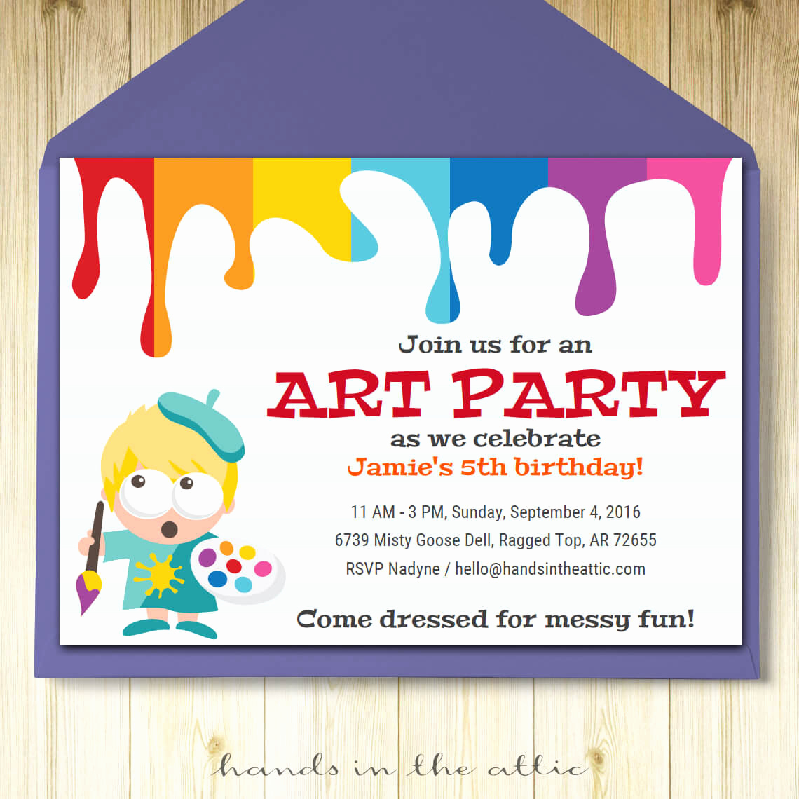 Printable Birthday Invitation Cards Unique Art Party Invitation Card Template Printable Kids Painting
