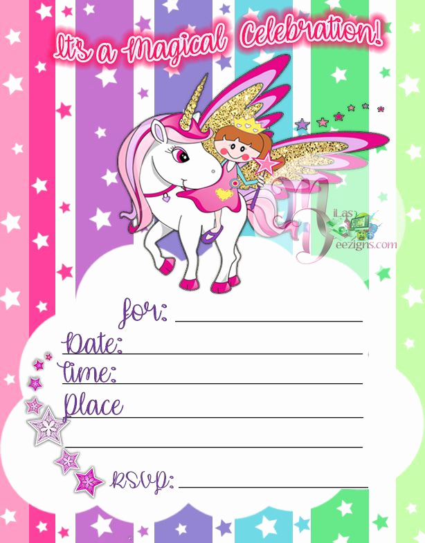 Printable Birthday Invitation Cards Unique Unicorn Birthday Party Invitation Printable Rainbow