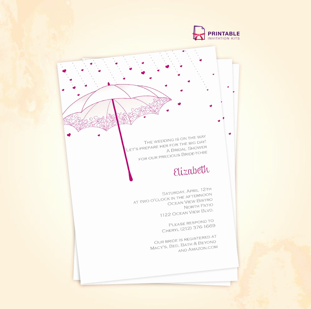 Printable Bridal Shower Invitation Templates Elegant Free Pdf Download Umbrella Bridal Shower Invite for