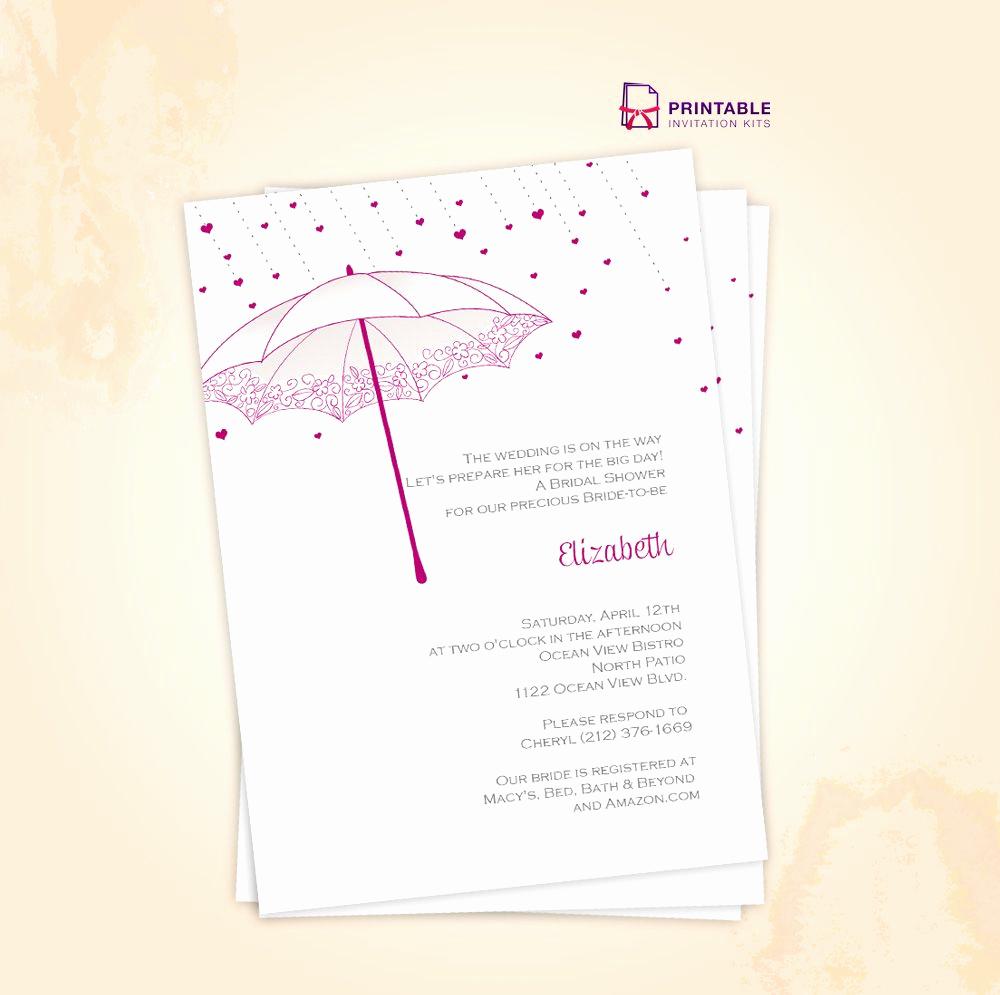 Printable Bridal Shower Invitation Templates Elegant Free Pdf Download Umbrella Bridal Shower Invite for