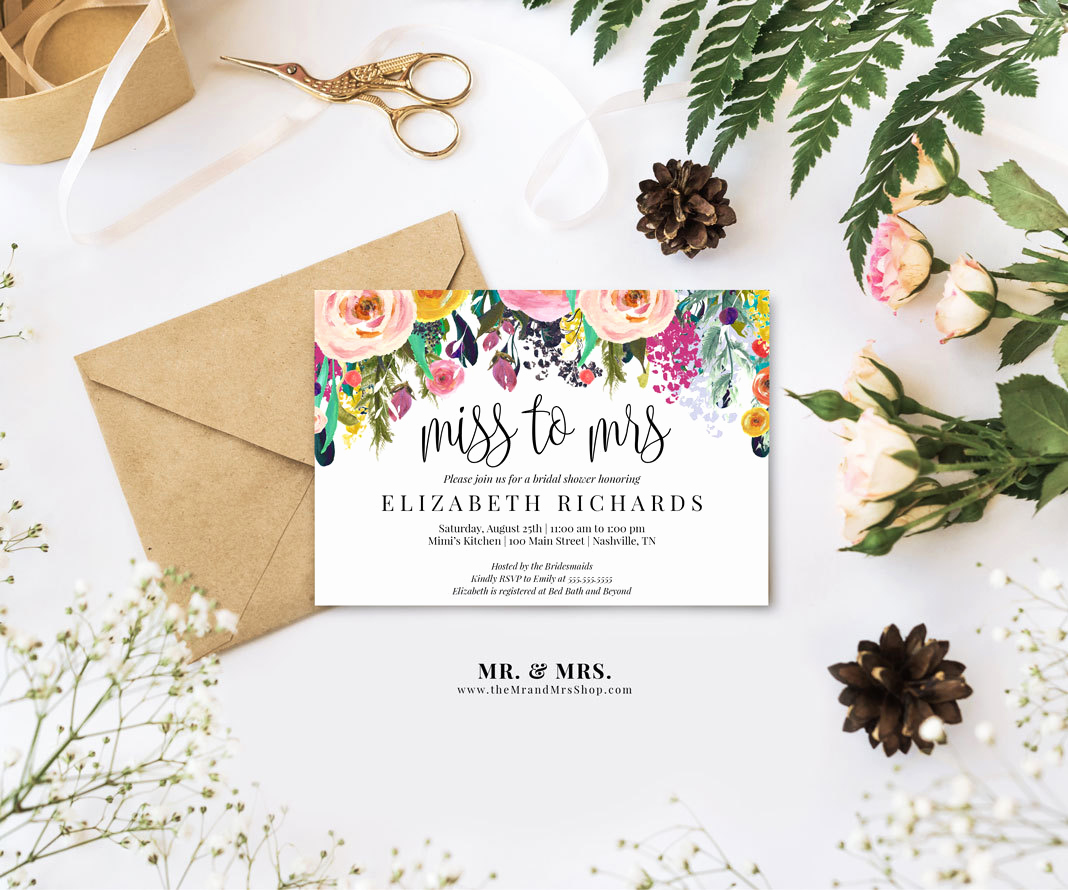 Printable Bridal Shower Invitation Templates Fresh Editable Watercolor Floral Miss to Mrs Bridal Shower