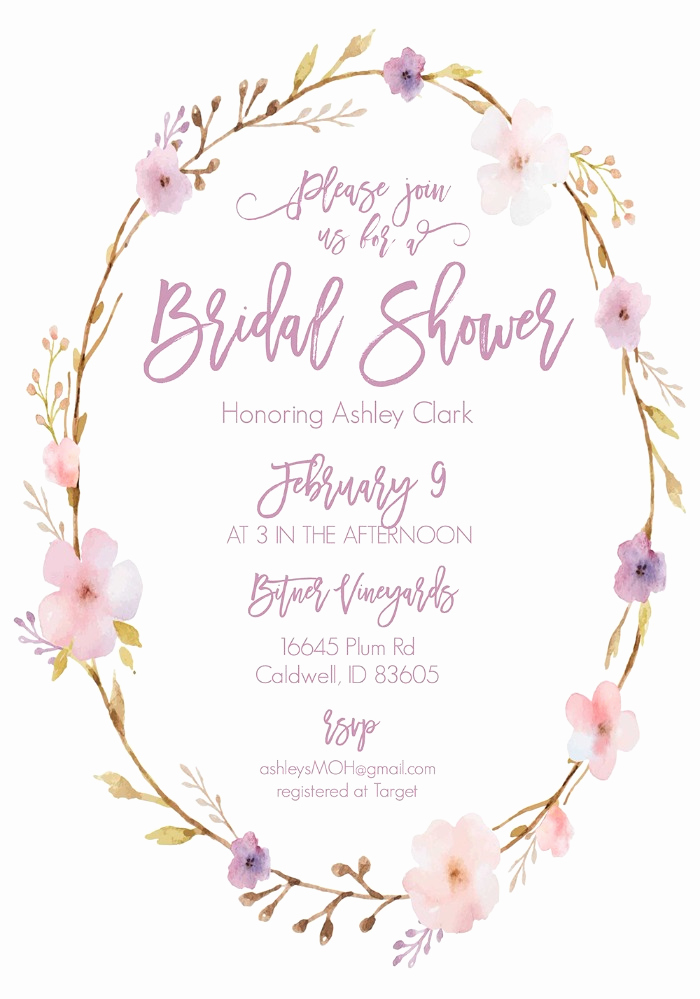 Printable Bridal Shower Invitation Templates Fresh Print Floral Wreath Free Printable Bridal Shower Invitations