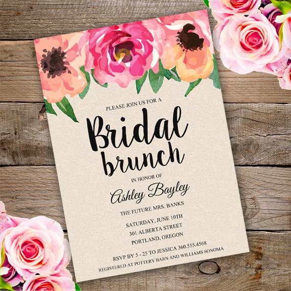 Printable Bridal Shower Invitation Templates Unique Bridal Shower Brunch Invitation Template Edit with Adobe