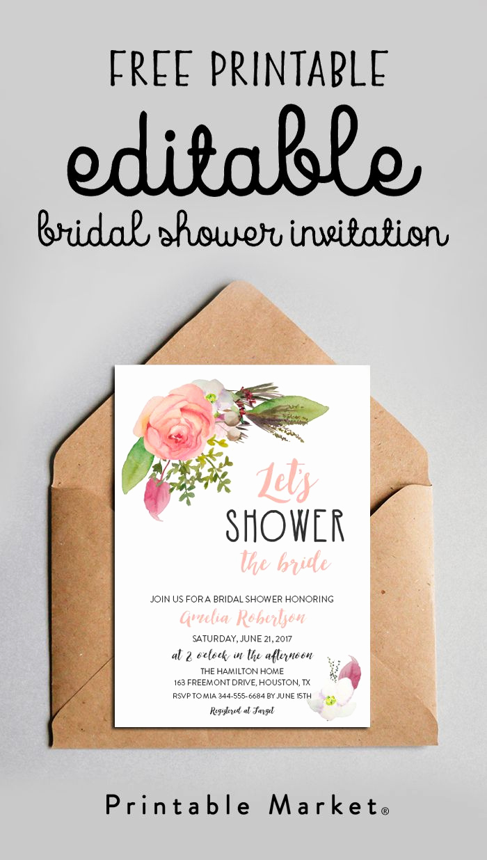 Printable Bridal Shower Invitation Templates Unique Free Editable Bridal Shower Invitation Watercolor Flowers