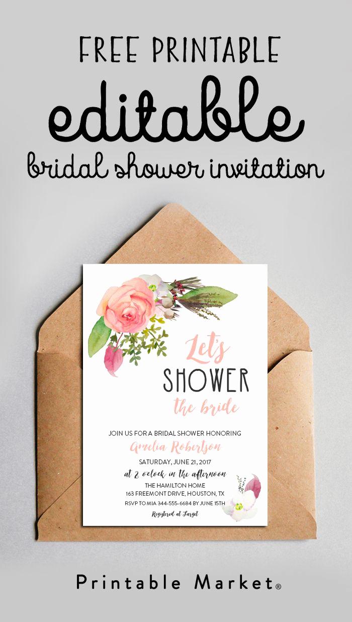 Printable Bridal Shower Invitation Templates Unique Free Editable Bridal Shower Invitation Watercolor Flowers