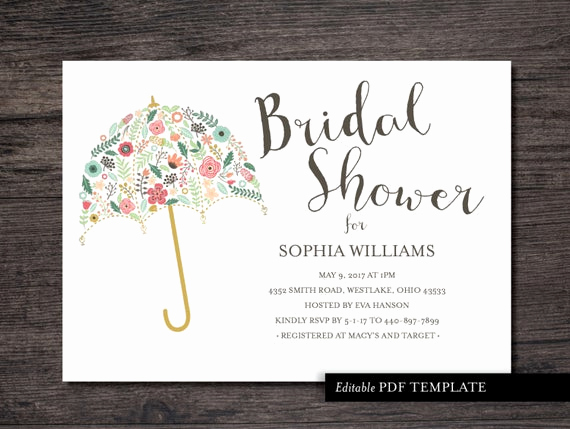 Printable Bridal Shower Invitation Templates Unique Umbrella Bridal Shower Invitation Template Bridal by