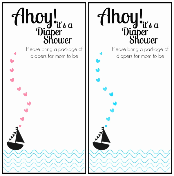 Printable Diaper Invitation Template Awesome Free Printable Nautical themed Baby Shower Invitation