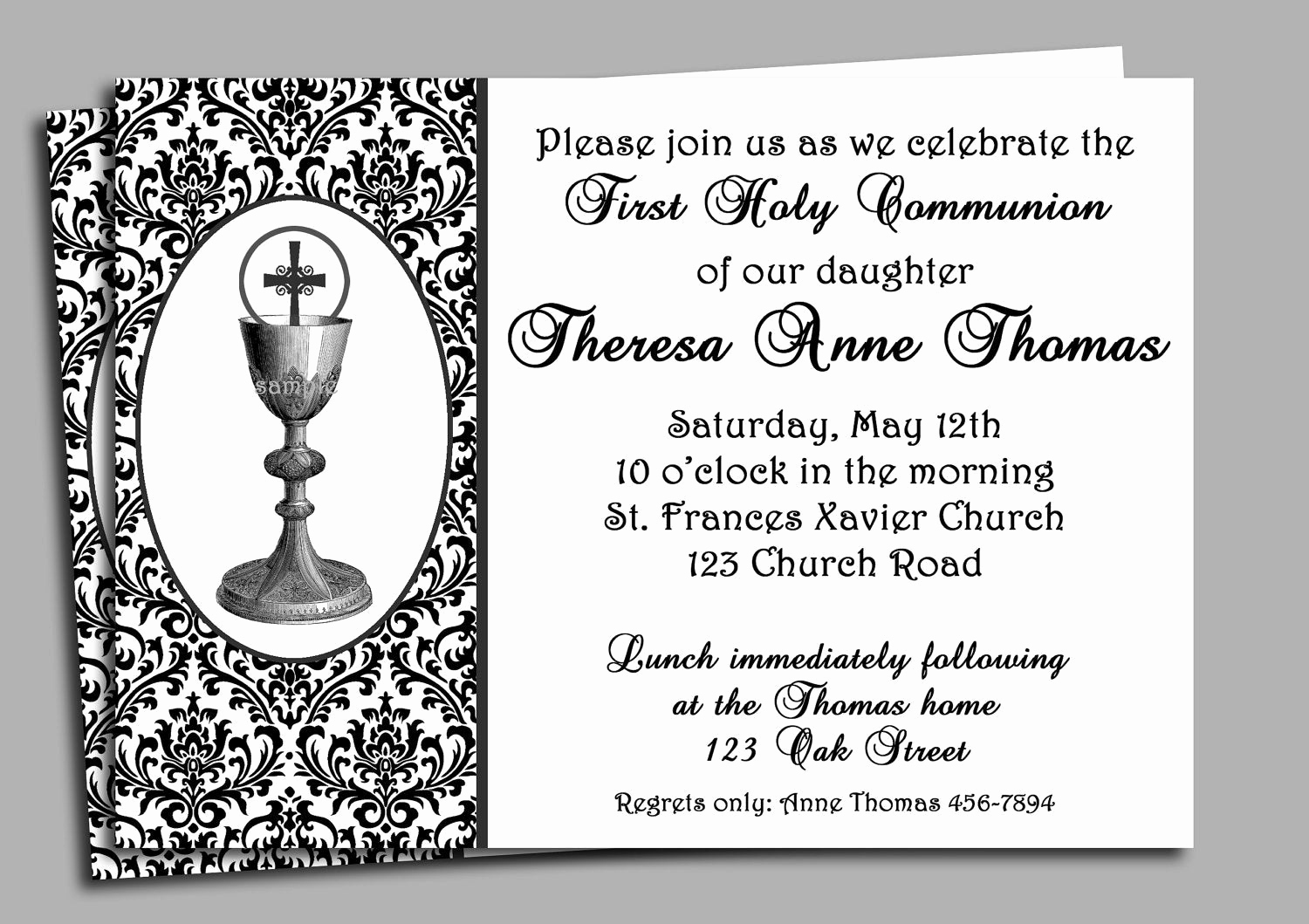 Printable First Communion Invitation Beautiful First Holy Munion Invitation Printable or Printed with Free