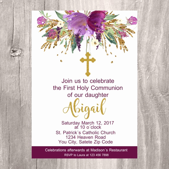 Printable First Communion Invitation Beautiful First Holy Munion Invite Printable Invitation First