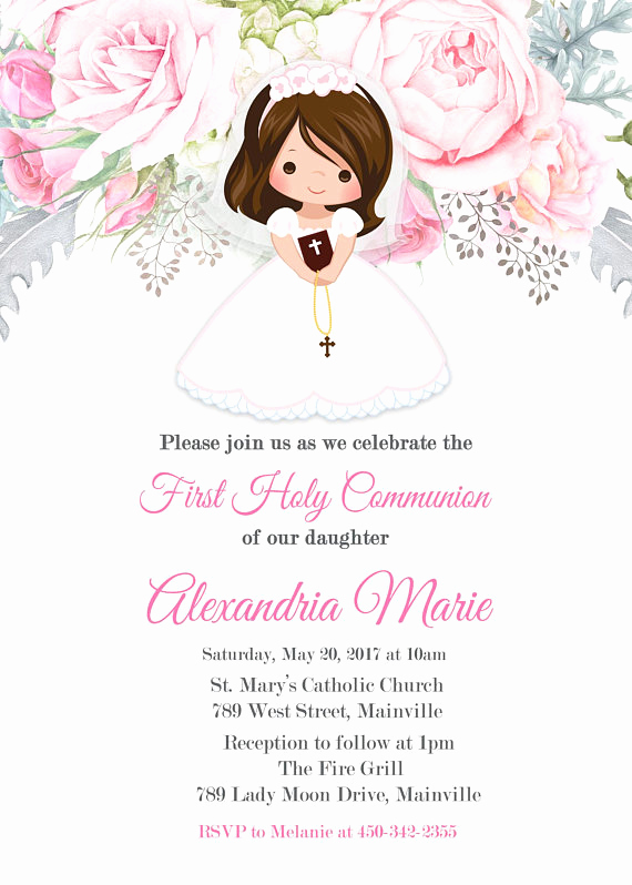 Printable First Communion Invitation Beautiful First Munion Invitation Munion Invitation Pink