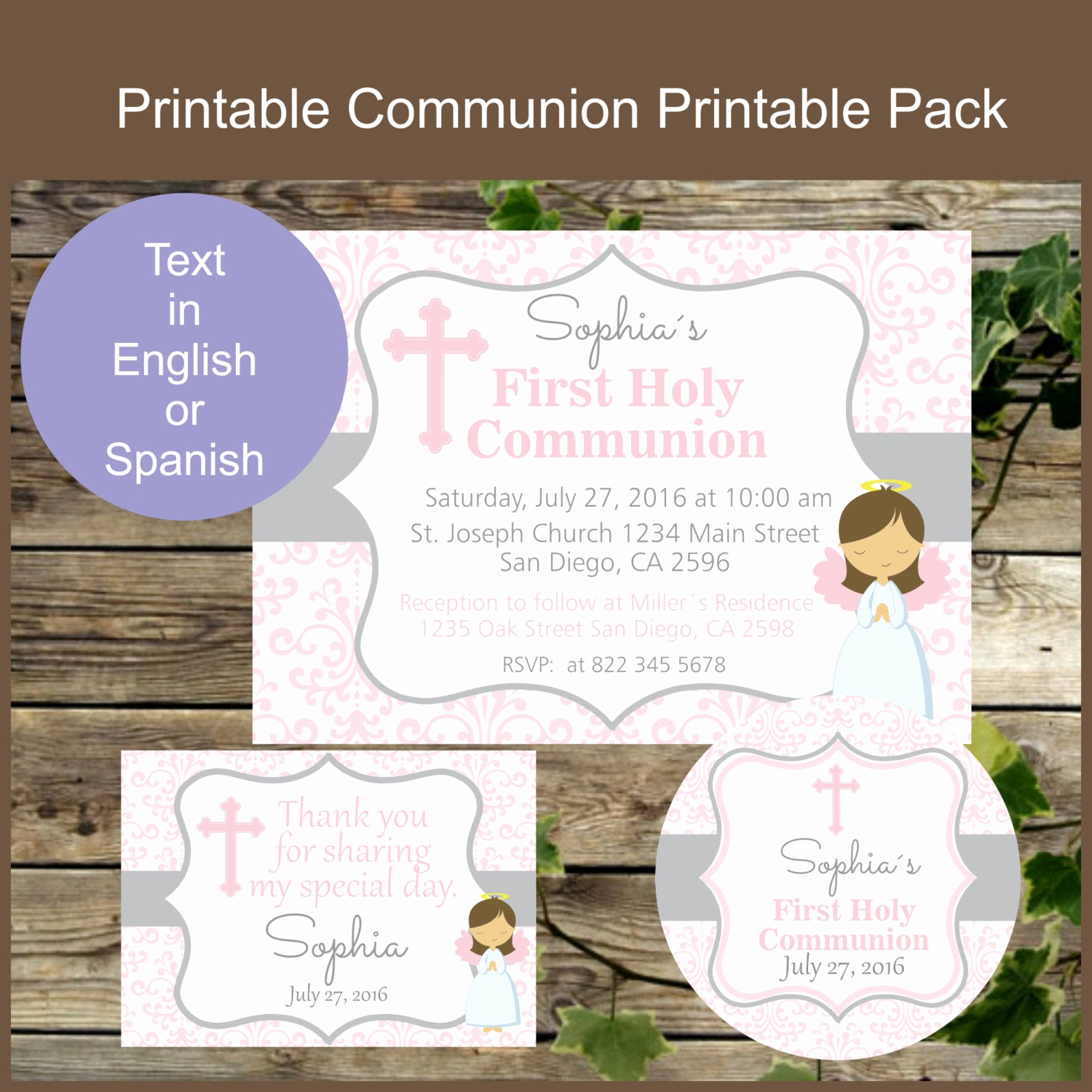 Printable First Communion Invitation Best Of First Holy Munion Printable Invitation Favor Tag and Thank