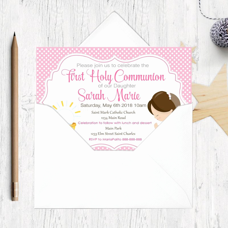 Printable First Communion Invitation Best Of First Munion Invitation Printable Invitation Girl S