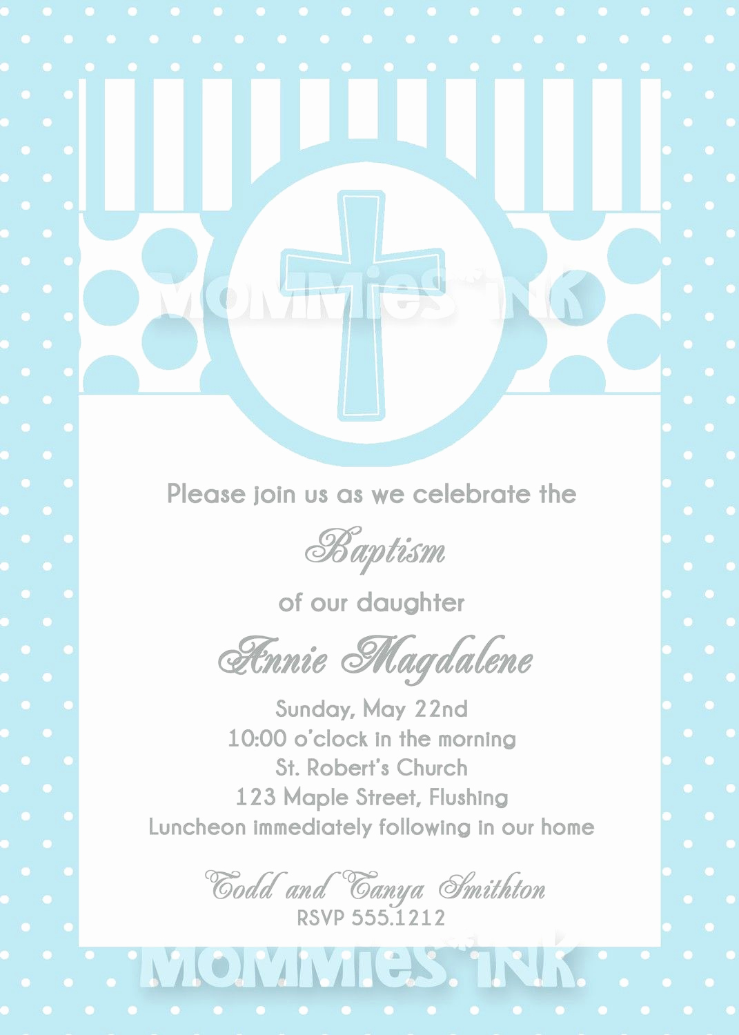 Printable First Communion Invitation Elegant Blue First Munion or Baptism Invitation Boy