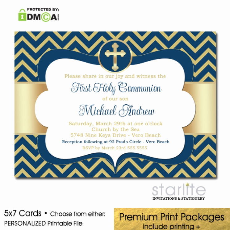 Printable First Communion Invitation Elegant Navy Gold First Munion Invitation Boy Chevron