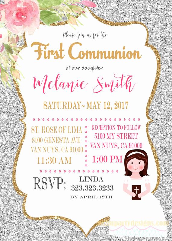 Printable First Communion Invitation Fresh First Munion Invitation Printable Print at Home