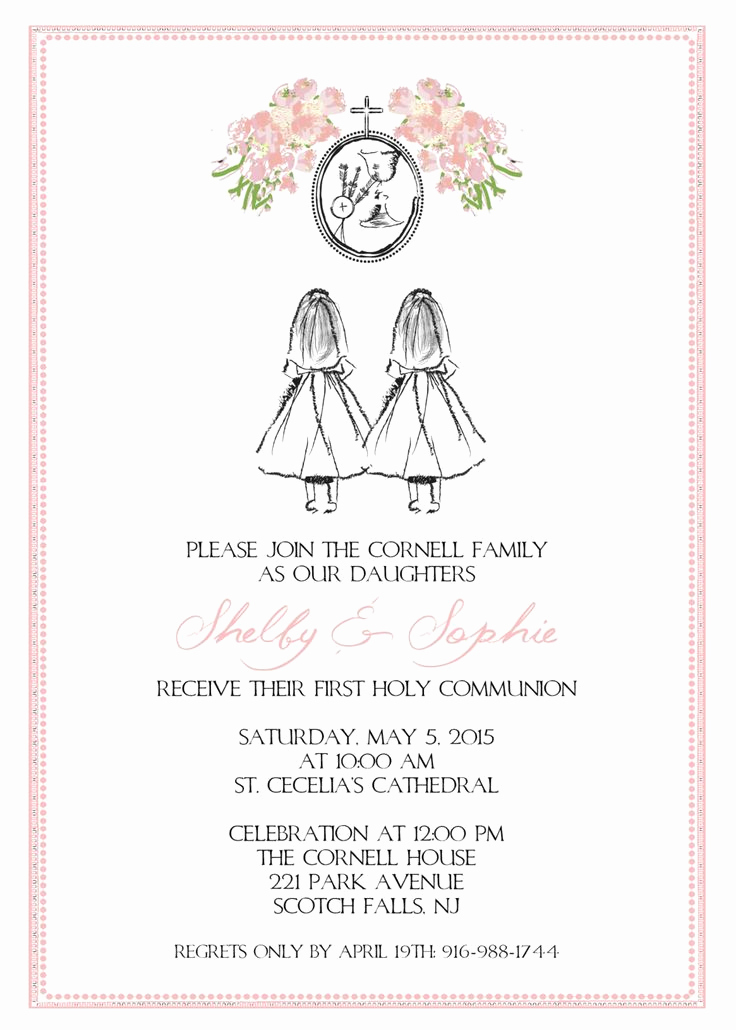 Printable First Communion Invitation Fresh Printable Custom Sketch Floral First Munion