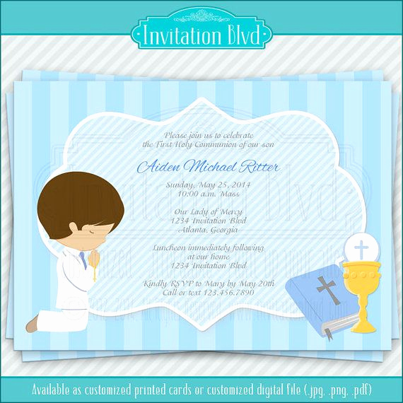 Printable First Communion Invitation Inspirational First Munion Invitation Boy First Munion Primera