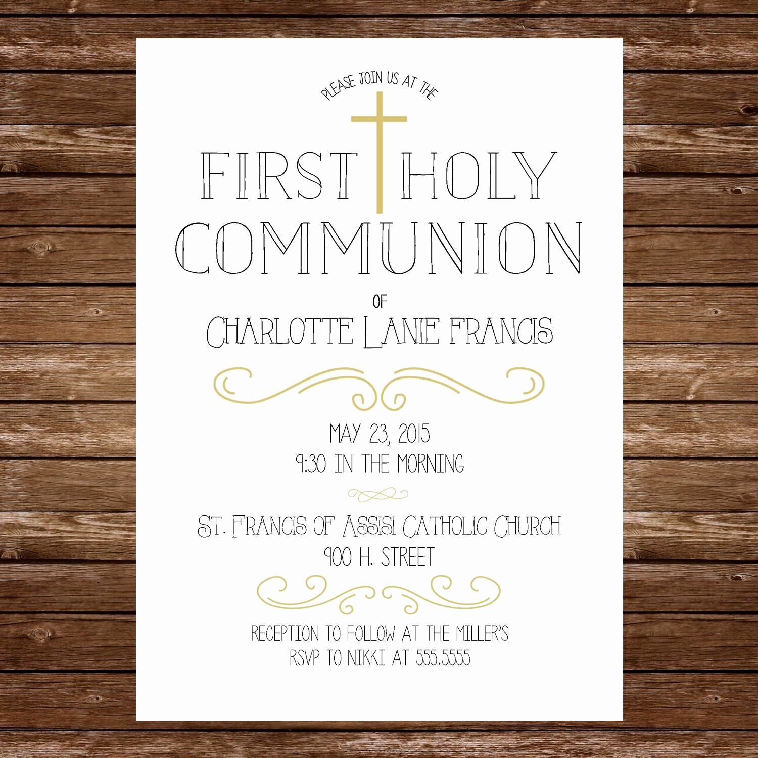 Printable First Communion Invitation Inspirational Printable First Holy Munion Invitation by Lucynicoletoo