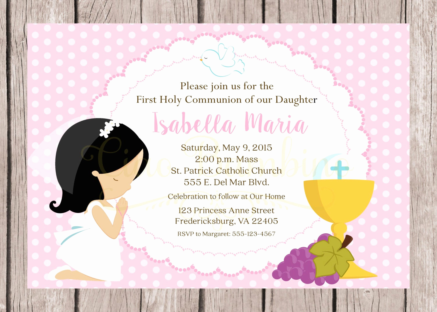 Printable First Communion Invitation Inspirational Printable First Holy Munion Invitation In Pink Choose