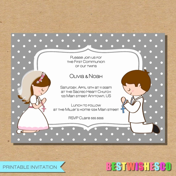 Printable First Communion Invitation Luxury Twins First Munion Invitation Confirmation Invite Girl Boy