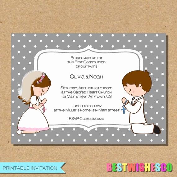 Printable First Communion Invitation Luxury Twins First Munion Invitation Confirmation Invite Girl Boy