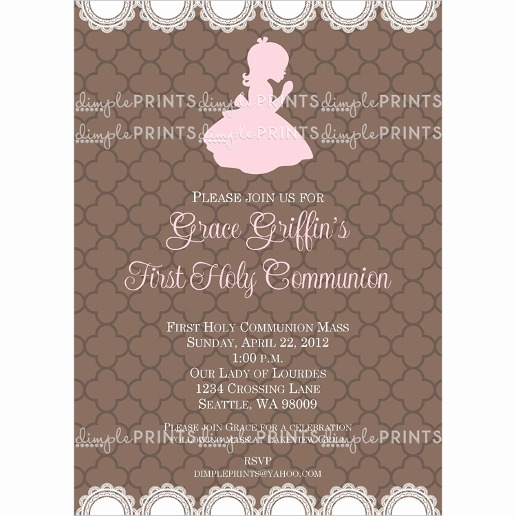 Printable First Communion Invitation New First Holy Munion Printable Invite Dimple Prints Shop
