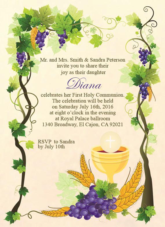Printable First Communion Invitation Unique Printable First Holy Munion Invitation E Card First
