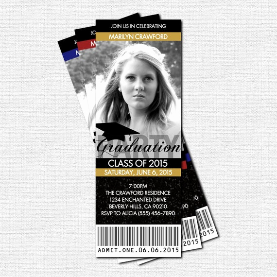 Printable Graduation Party Invitation Elegant Graduation Party Ticket Invitations or Announcement by