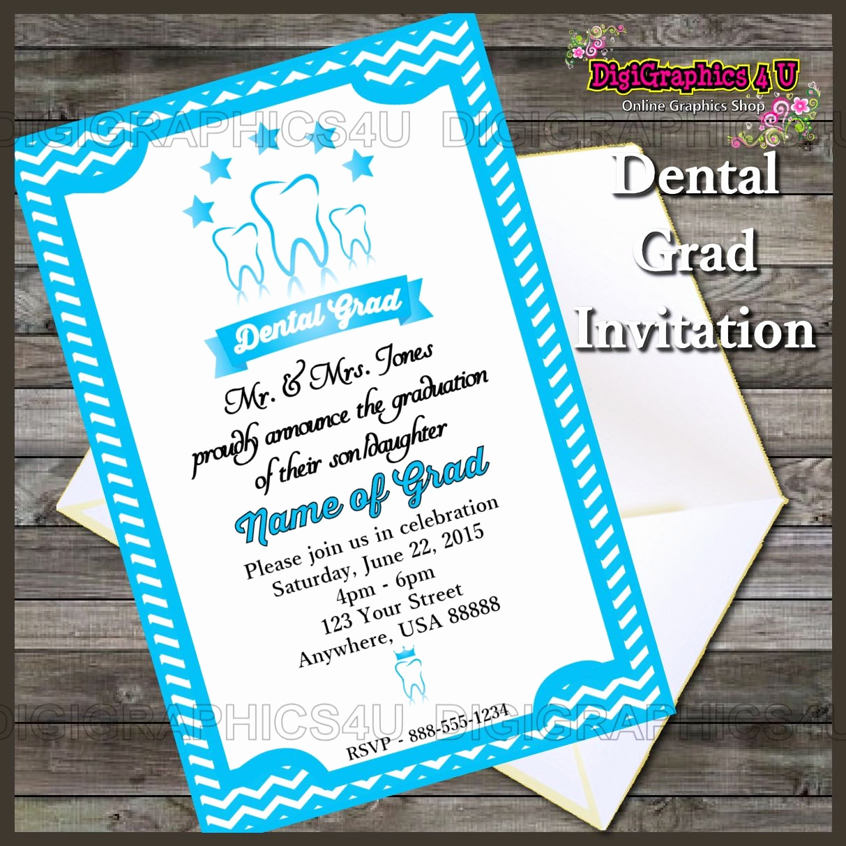 Printable Graduation Party Invitation Inspirational Printable Dental Graduation Party Invitation by Digigraphics4u
