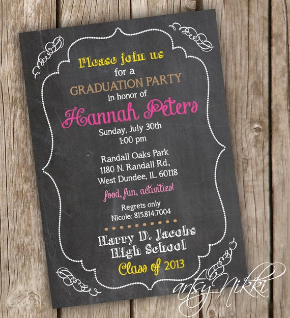 Printable Graduation Party Invitation Luxury Graduation Party Invitation Chalkboard Style Graduation