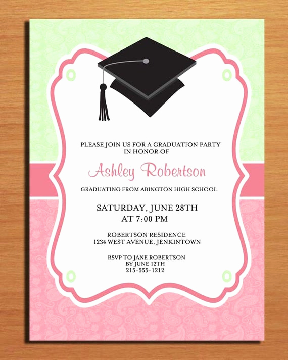 Printable Graduation Party Invitation Unique Paisley Graduation Party Invitation Cards Printable Diy
