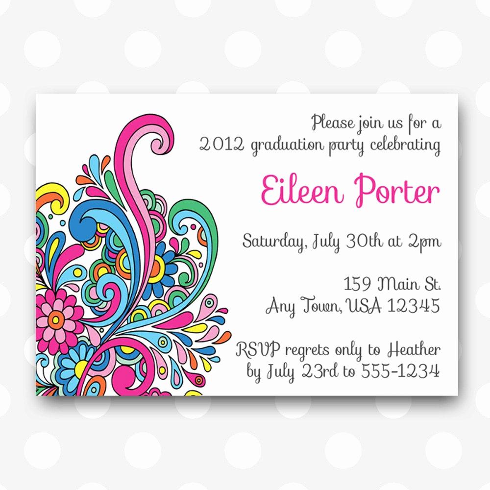 Printable Graduation Party Invitation Unique Printable Graduation Party Invitation Color by