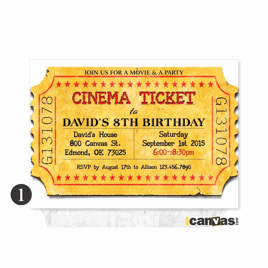Printable Movie Ticket Invitation Awesome Movie Ticket Invitation Printable Movie Party by 800canvas
