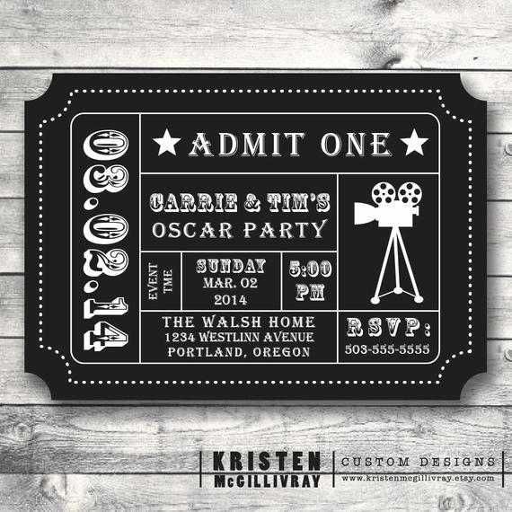 oscar party ticket invitation diy