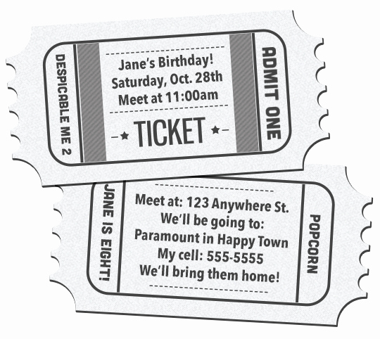 Printable Movie Ticket Invitation Best Of 41 Printable Birthday Party Cards & Invitations for Kids