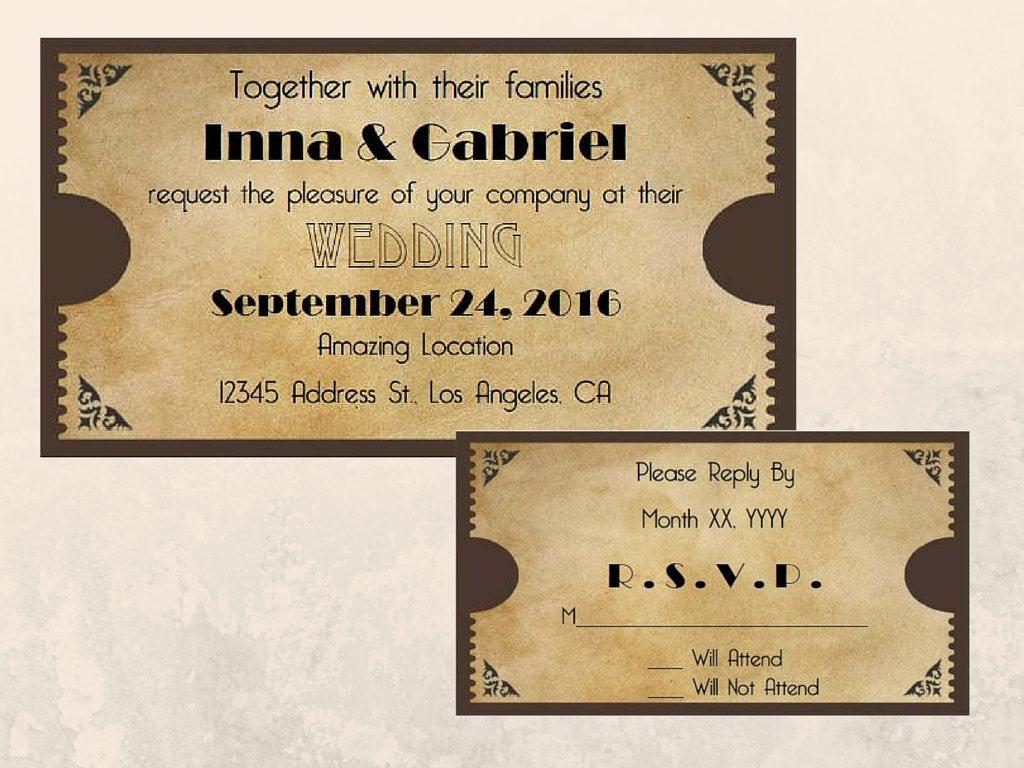 Printable Movie Ticket Invitation Best Of Printable Movie Ticket Wedding Invitation and Rsvp Cards