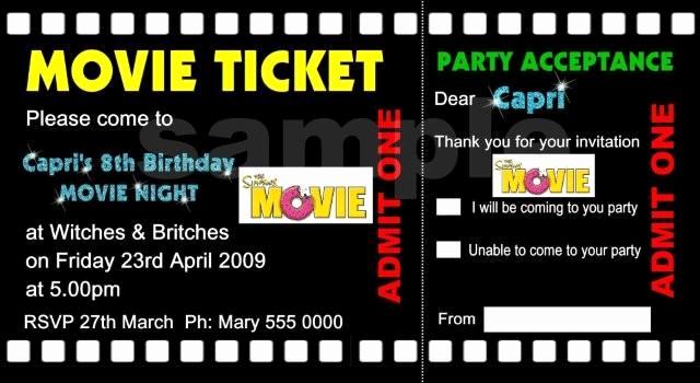 Printable Movie Ticket Invitation Elegant Bagvania Free Printable Invitation Template