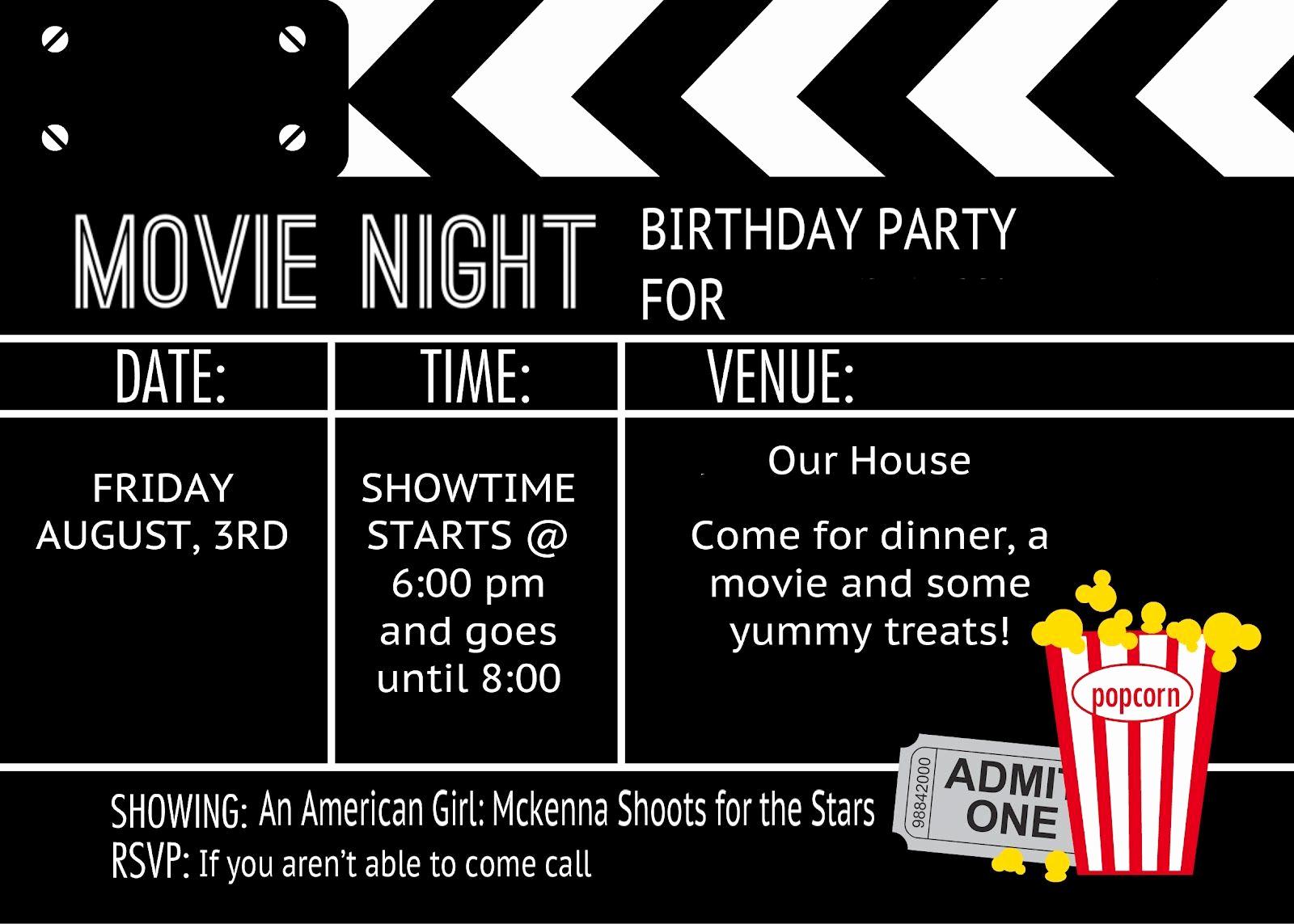 Printable Movie Ticket Invitation Elegant Cool Black and White Movie themed Birthday Party