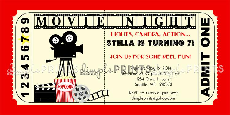 Printable Movie Ticket Invitation Elegant Vintage Movie Ticket Printable Birthday Invite Dimple
