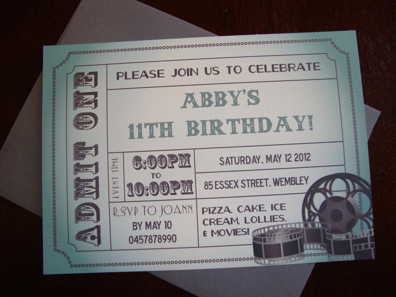 Printable Movie Ticket Invitation Inspirational Diy Printable Movie Ticket Birthday Invitation