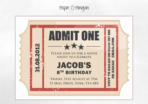 Printable Movie Ticket Invitation Inspirational Items Similar to Personalized Kid S Movie Ticket Party