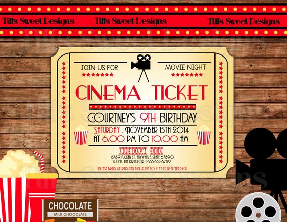 Printable Movie Ticket Invitation Inspirational Movie Night Invitation Movie Ticket by Tiffssweetdesigns
