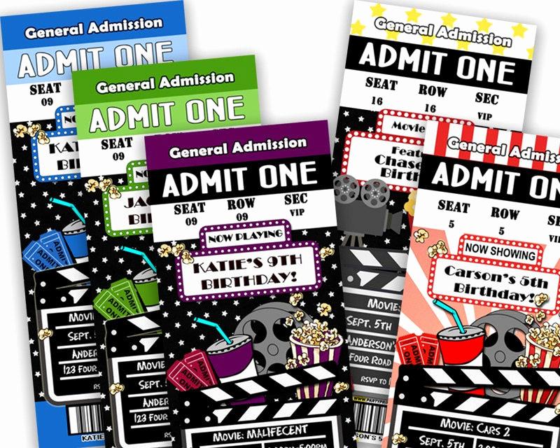 Printable Movie Ticket Invitation Lovely Printable Movie Ticket Invitation Movie Birthday Party