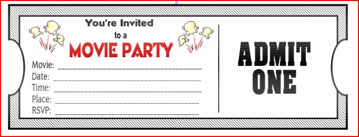 Printable Movie Ticket Invitation Luxury Movie Ticket Birthday Invitations Ideas – Bagvania Free