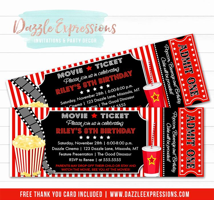 Printable Movie Ticket Invitation Luxury Printable Movie Ticket Birthday Invitation Movie Night