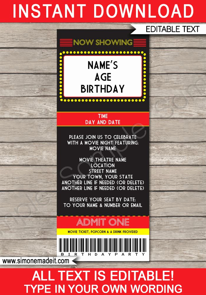 Printable Movie Ticket Invitation New 53 Best Movie Night