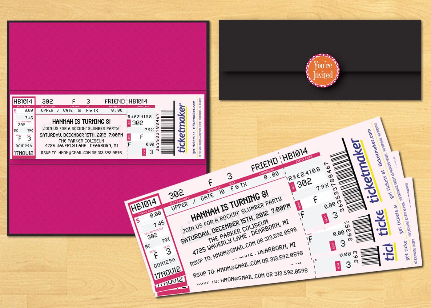 Printable Movie Ticket Invitation New Slumber Party Ticket Invitation Printable Movie by
